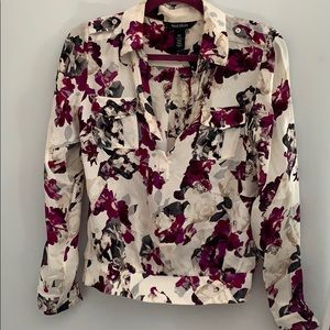 White House Black Market Floral Silk Shirt size 4
